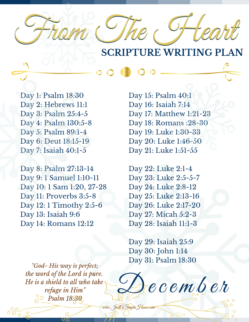 From The Heart Scripture Writing Plan || December - Just A